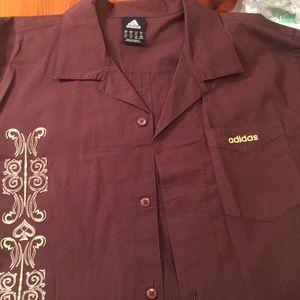Rare Mens Brown w/gold Embroidered Design Shirt XL
